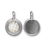 TierraCast Bright Rhodium Charm With Crystal Swarovski SS34 each