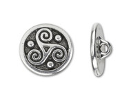 TierraCast Antique Silver Triskele Round Button each