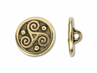 TierraCast Antique Gold Triskele Round Button each