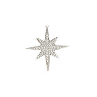 Pendant North Star 30mm with CZ Silver Plated Copper - each