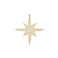 Pendant North Star 30mm with CZ Gold Plated Copper - each