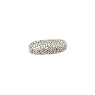 Elongated Barrel Bead Silver Plated Copper with Cubic Zirconias 29mm