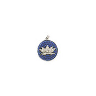 Lotus Charm Rhodium-Plated Copper with Blue Cubic Zirconias 14mm