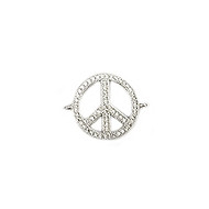 Peace Connector Silver-Plated Copper with Cubic Zirconias 18mm