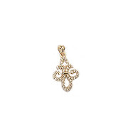 Fleur de Lis Gold-Plated Charm with Cubic Zirconias 12x19mm