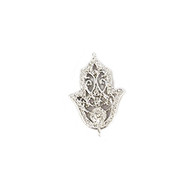 Connector Hamsa 20mm with CZ Silver Plated Copper - each