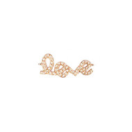 Connector Love 25mm with CZ  Rose Plated Copper - each