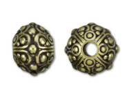 TierraCast 10mm Antique Brass Large Hole Oasis Bead each