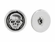 TierraCast Antique Silver Scary Skull Button each