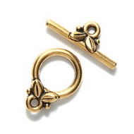 TierraCast Bright Gold Leaf Toggle Clasp Set each