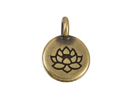 TierraCast Antique Brass Lotus Charm each