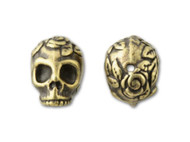 TierraCast Antique Brass Rose Skull Bead each