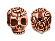 TierraCast Antique Copper Rose Skull Bead each