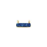 Blue-Coloured Baguette Druzy Pendant with Vermeil Bezel 30x8.5mm