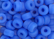 Crow Bead -  Glass Pressed Blue Matte 9mm