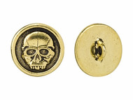 TierraCast Antique Gold Scary Skull Button each