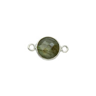 Connector Labradorite Round 11mm Bezel Sterling Silver -  each