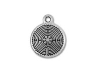 TierraCast Antique Silver Labyrinth Charm each