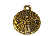 TierraCast Antique Gold Labyrinth Charm each