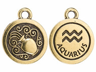 TierraCast Antique Gold Aquarius Charm each