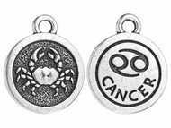 TierraCast Antique Silver Cancer Charm each