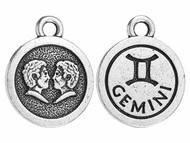 TierraCast Antique Silver Gemini Charm each