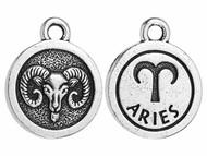 TierraCast Antique Silver Aries Charm each