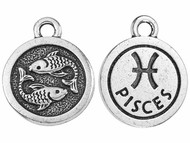 TierraCast Antique Silver Pisces Charm each