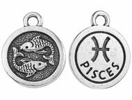 TierraCast Antique Silver Pisces Charm each