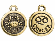 TierraCast Antique Gold Cancer Charm each