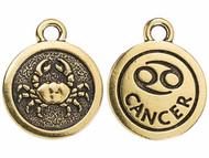 TierraCast Antique Gold Cancer Charm each