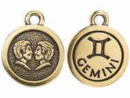 TierraCast Antique Gold Gemini Charm each