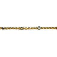 Sterling Silver  Chain Satellite Two Tone Gold Vermeil /Silver 1x1.5mm - per foot
