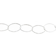 Sterling Silver Chain Oval Cable Diamond Cut 25.75 x 16.75mm - per foot (25291)