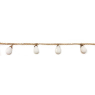 Vermeil Beaded Chain with Facetted White Agate Briolettes - per foot