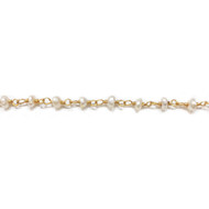 Vermeil Beaded Chain with Freshwater Pearls 3-4mm - per foot
