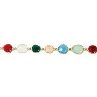Vermeil Beaded Chain with Bezelled Multi-Coloured Chalcedony 12.9x13.7mm to 15.6x18.8mm - per foot