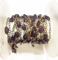 Vermeil Beaded Chain with Garnets - per foot