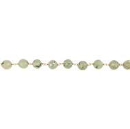 Vermeil Beaded Chain with Facetted Prehnite 7.5mm - per foot