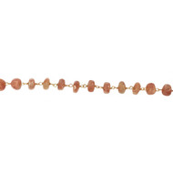 Vermeil Chain with Facetted 6mm Sunstone Rondelle - by the foot
