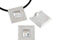 Silver Zamak Square Pendant with Swarovski Crystal 28mm (inner 4mm) - each