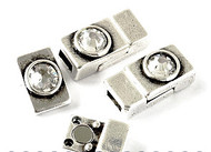 Silver Zamak Magnetic Clasp with Swarovski Crystal 22x10x6mm (inner 6x3mm) - each