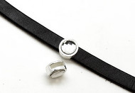 Silver Zamak Coin Slider with Swarovski Crystal 13mm (inner 10x3mm) - each