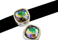 Silver Zamak Soft Square Slider with Paradise Shine Swarovski Crystal 13mm (inner 10x2.5mm) - each