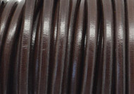 Leather Round Cord 5mm Brown European made - per inch