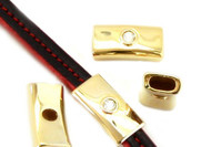 Gold Zamak Plain Slider with Swarovski Crystal (inner 10mm for flat leather) - each