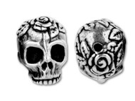 TierraCast Antique Silver Rose Skull Bead each (20475)