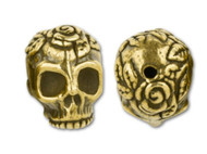 TierraCast Antique Gold Rose Skull Bead each (20476)