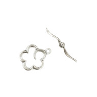 Sterling Silver Clasp Toggle Set Flower  - by the piece