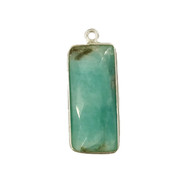 Pendant Amazonite 10x25mm Rectangle Bezel Sterling Silver - each